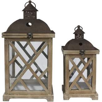 STONEBRIAR COLLECTION Stonebriar Decorative Wooden Hurricane Candle Lantern Set - Indoor or Outdoor Use - Set of 2
