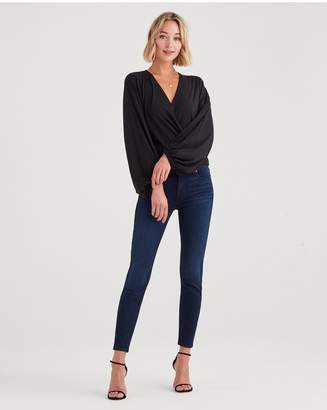 7 For All Mankind Slim Illusion Luxe The Skinny With Contour Waistband In Twilight Blue