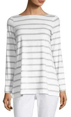 Eileen Fisher Stripe Bateau Neck Top