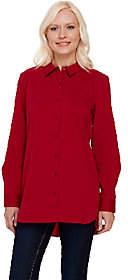 Denim & Co. Stretch Poplin Big Shirt w/ CurvedSide Bottom