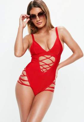 Missguided Red Bandage Lace Up Cut Out Swimsuit