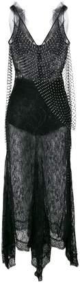Amen embellished sheer lace midi dress