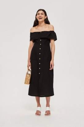 Topshop Linen Bardot Midi Dress