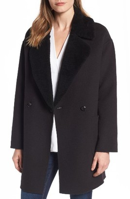 Women's Trina Turk Dawn Genuine Shearling Collar Double Face Coat $425 thestylecure.com