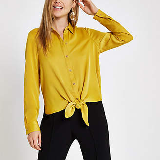 River Island Womens Yellow tie front long sleeve shirt