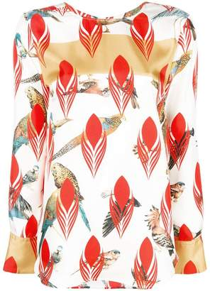 Odeeh parrot printed blouse