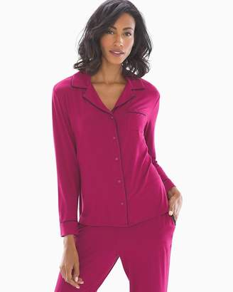 Cool Nights Long Sleeve Notch Collar Pajama Top Cranberry