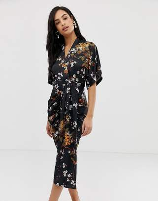 d84a66b7d52 Liquorish floral midi dress with drape front detail