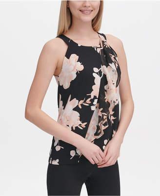 Calvin Klein Printed Draped Halter Blouse