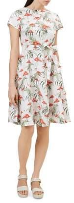 Hobbs London Sorrento Flamingo Print Linen Dress