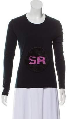 Sonia Rykiel Fur-Embellished Long Sleeve Top