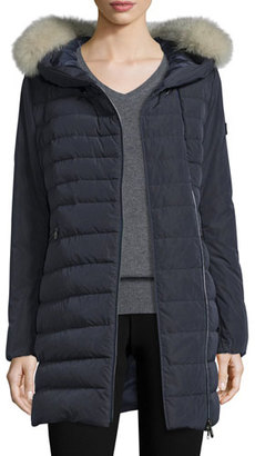 Peuterey Hooded Asymmetric-Zip Puffer Jacket, Navy $1,195 thestylecure.com
