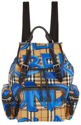 Burberry Medium Graffiti Vintage Check Backpack