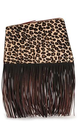 THE VOLON Dia leopard fringe clutch