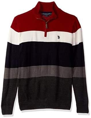 U.S. Polo Assn. Men's Double Striped 1/4 Zip Sweater
