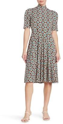 Donna Morgan Mandala Mock Neck Fit & Flare Dress