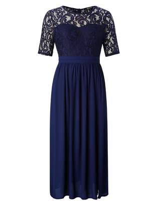 Chicwe Women's Plus Size Guipure Lace Maxi Dress - Wedding Party Cocktail Dress with Flared Skirt Floor Length 1X