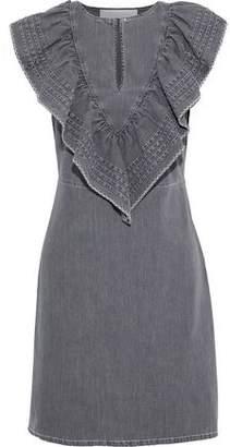 See by Chloe Ruffled Pintucked Denim Mini Dress