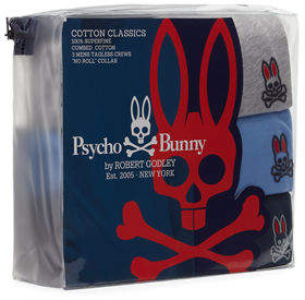 Psycho Bunny Three-Pack Classic Cotton Crewneck T-Shirt
