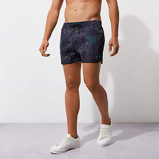 River Island Dark blue tile print runner swim shorts