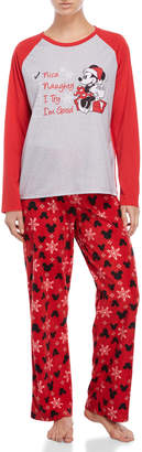 Disney Two-Piece Minnie Mouse Raglan Tee & Fleece Pant Pajama Set