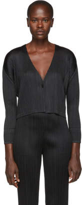 Pleats Please Issey Miyake Black Pleats Cardigan