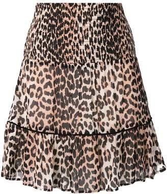 Ganni leopard print a-line skirt