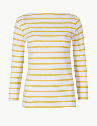 Marks and Spencer Cotton Rich Striped 3/4 Sleeve Fitted T-Shirt