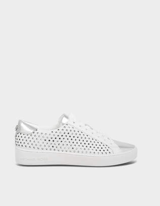 MICHAEL Michael Kors Irving Star Lace Up Sneakers in Optic White Vachetta