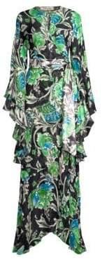 Diane von Furstenberg Lizella Bell Sleeve Embellished Silk Gown