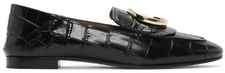 Chloé Black Croc C Loafers