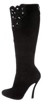 Emporio Armani Embroidered Suede Boots