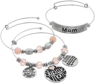"""Mom"" Charm Bangle Bracelet Set"