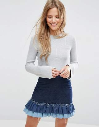 Asos Ribbed Sweater With Stitch Detail And Fluted Sleeve