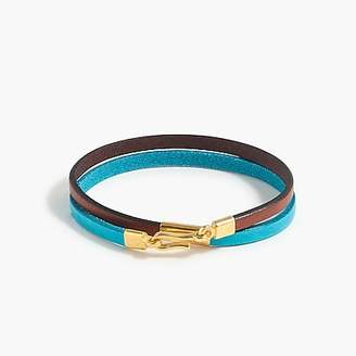 J.Crew Caputo & Co.TM colorblock leather double-wrap bracelet