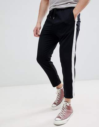 Pull&Bear Pants With Side Stripe In Black