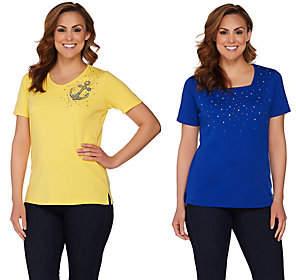 Factory Quacker Set of 2 Summer Sparkle ShortSleeve T-shirts
