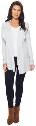 Mod-o-doc Double Slub Knit Hooded Open Front Cardigan Women's Sweater