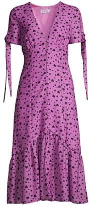DELFI Collective Yvette Tie-Sleeve Heart Midi Dress