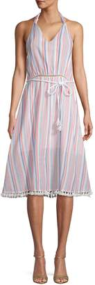Moon River Striped Cotton Halter Dress