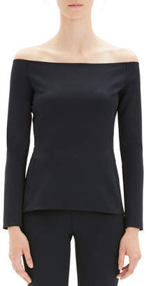 Theory Off-Shoulder Long-Sleeve Fitted Top