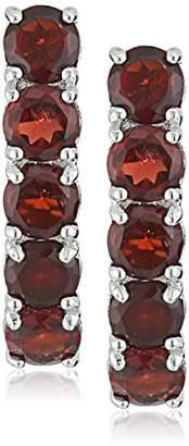 Sterling Silver 5 Stone Garnet Dangle Earrings