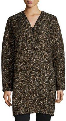 Lafayette 148 New York Lorraine Metallic Long Coat, Black Multi $898 thestylecure.com