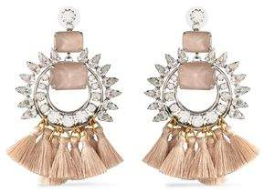 Elizabeth Cole Tasseled Silver And Gold-Tone Crystal And Stone Earrings