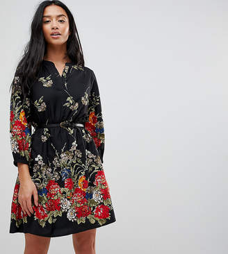 Yumi Petite 3/4 Sleeve Belted Dress in Floral Border Print