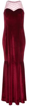 Quiz Berry Velvet Embellished High Neck Fishtail Maxi