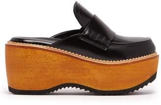 Marni Leather and wood slip-on flatform loafers