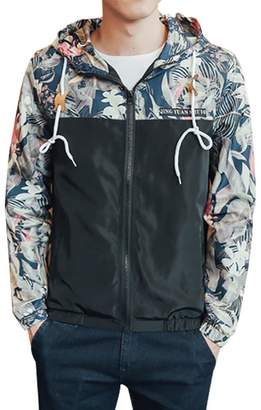 FUNOC Mens Bomber Jacket Hip Hop Slim fit Floral Hooded Jacket Coat Plus
