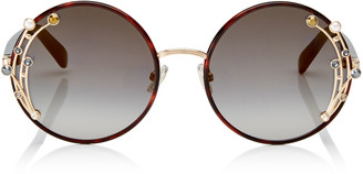 Jimmy Choo GEMA Dark Havana Round Shaped Metal Sunglasses with Swarovski Crystals and Pearls