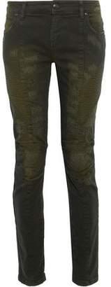 Pierre Balmain Moto-Style Distressed Mid-Rise Skinny Jeans